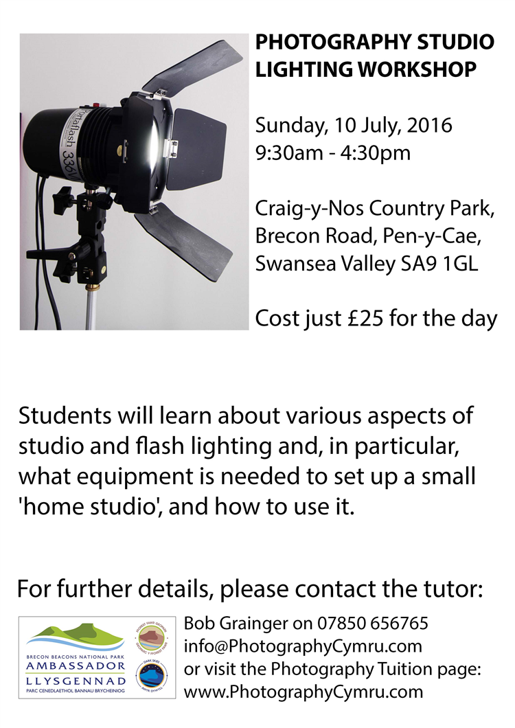 Photography Studio Lighting Workshop Craig-y-Nos Country Park
