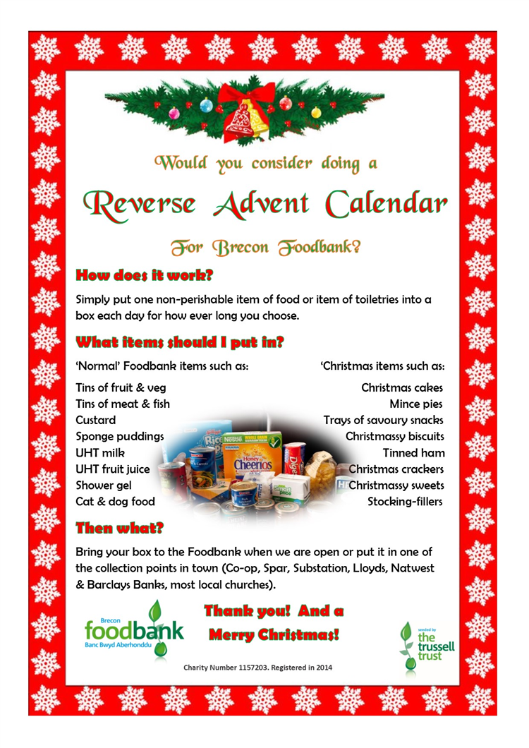 Reverse Advent Ideas From Brecon Foodbank